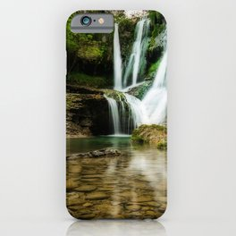 beautiful waterfall clear lake summer forest waterfalls Catalonia Spain iPhone Case