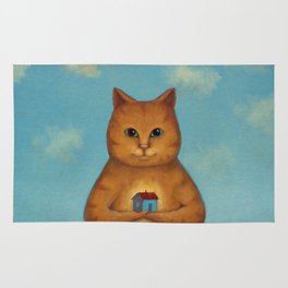 Every Cat need a Home. Ginger Cat Illustration Rug
