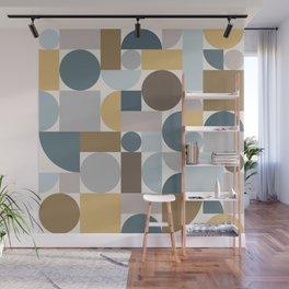 Mid Century Modern Geometric Blue Gold Wall Mural