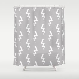 Bolts lightening bolt pattern grey and white minimal cute patterned gifts Shower Curtain