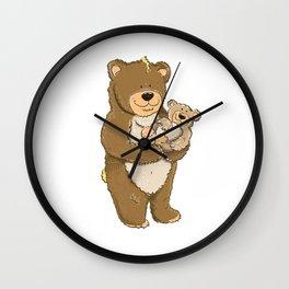 cute bears, father and son Wall Clock