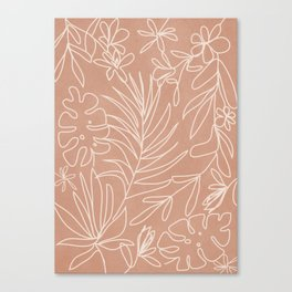 Engraved Tropical Line Canvas Print