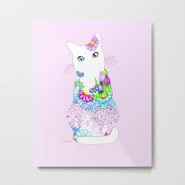 Blue-Eyed Lilac Kitty Metal Print
