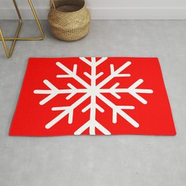 Snowflake (White & Red) Rug