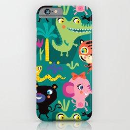 Jungle Animals Kids Animal Safari Pattern iPhone Case