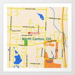 Map of North Canton, OH Art Print