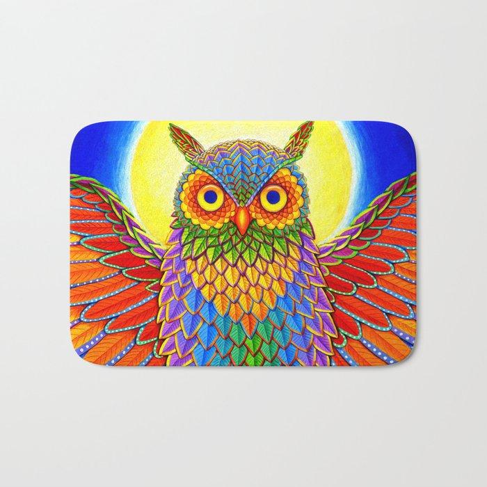 Colorful Rainbow Owl Bath Mat