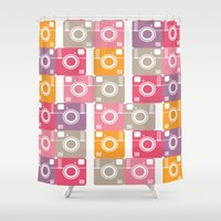 cameras Shower Curtains featuring Vintage cameras by Yasmina Baggili