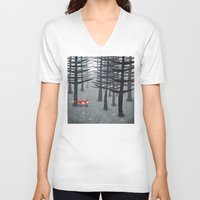 woodland V-neck T-shirts featuring The Fox and the Forest by Nic Squirrell