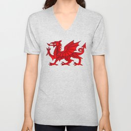 Welsh Dragon With a Bevel Effect Unisex V-Neck