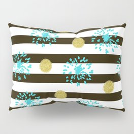 A festive mood. Striped background black and white with blue fireworks and Golden peas . Pillow Sham
