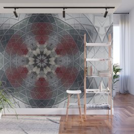 White and Grey Flower Mosaic Wall Mural