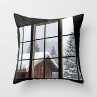 cabin Throw Pillows featuring Cabin by JacDodge