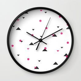 Triangle Explosion - Pink and Black Wall Clock