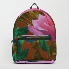 LEAFY PINK ROSE GARDEN & COFFEE BROWN ART Backpack