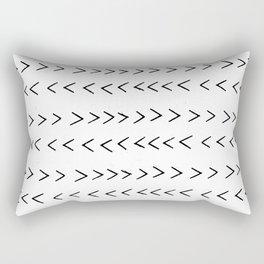linocut Mudcloth grey and white minimal modern chevron arrows pattern gifts dorm college decor Rectangular Pillow