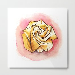 Gold origami rose Metal Print