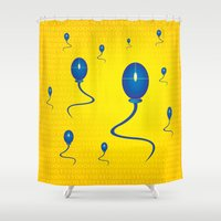 computer Shower Curtains featuring computer love by mangulica illustrations