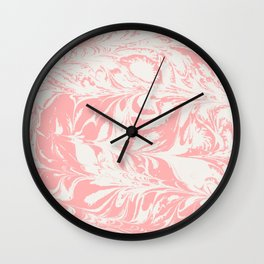 Kuri - spilled ink abstract marble swirl pink and white minimal modern abstract painting ocean sea Wall Clock