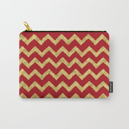 Chevron Red Gold Carry-All Pouch