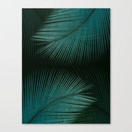 Palm leaf synchronicity - twilight teal Canvas Print
