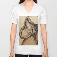 chuck V-neck T-shirts featuring Chuck it by Esteban Garza