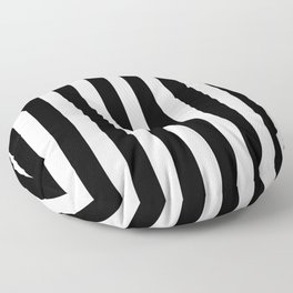 Classic Black and White Football / Soccer Referee Stripes Floor Pillow