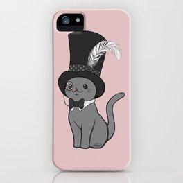 Grey Cat Wears Plumed Top Hat iPhone Case