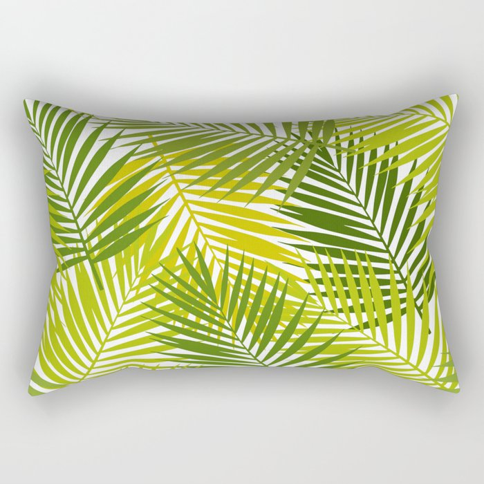 Palm leaf silhouettes seamless pattern. Tropical leaves. Rectangular Pillow