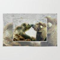 bears Area & Throw Rugs featuring Bears by Julie Hoddinott