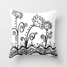 Three Spring Flowers Throw Pillow