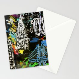 New York City Buildings at Night Stationery Cards