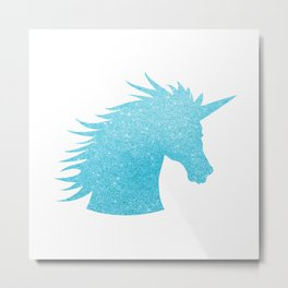 Blue Glitter Unicorn Metal Print