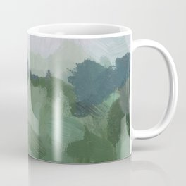 Sky Blue and Sage Green Abstract Painting, Modern Wall Art Print, Rural Country Farm Rustic Coffee Mug