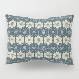 Blue Floral Japanese Pattern Pillow Sham