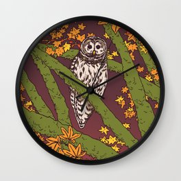 Barred Owl & Maple Wall Clock