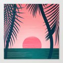 Tropical Sunset Scene - Pink and Emerald Palette by kristiangallagher