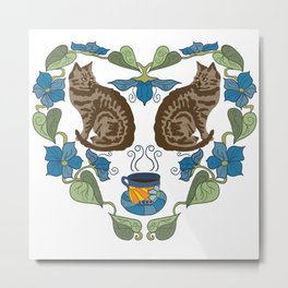 Coffee and Cats Metal Print