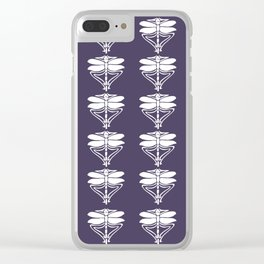 Meteorite Purple Arts and Crafts Dragonflies Clear iPhone Case