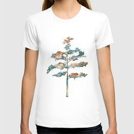 Pine Tree #2 in pink and blue - Ink painting T-shirt