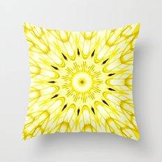 the sun : Yellow Mandela Explosion Throw Pillow