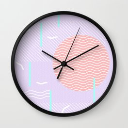 Memphis Summer Lavender Waves Wall Clock