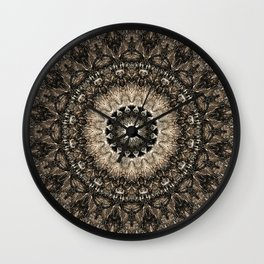 Dark Brown Boho Mandala Wall Clock