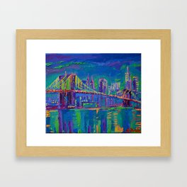 New York City Night Lights - palette knife painting urban Brooklyn bridge skyline Framed Art Print