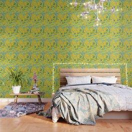 Yellow Green Acqua Abstract Organic Pattern Desig Wallpaper