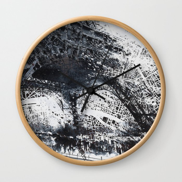 Eiffel tower painting  - Paris Map Wall Clock