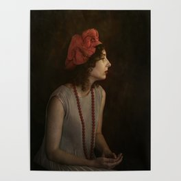 Girl with red necklace Poster