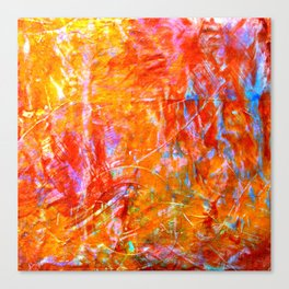 Abstract with Circle in Gold, Red, and Blue Canvas Print