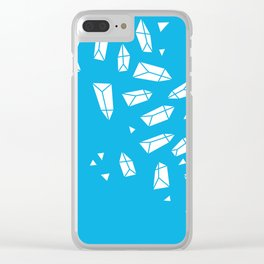 White Crystals on Blue Clear iPhone Case