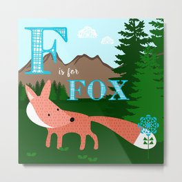 F is for Fox Metal Print